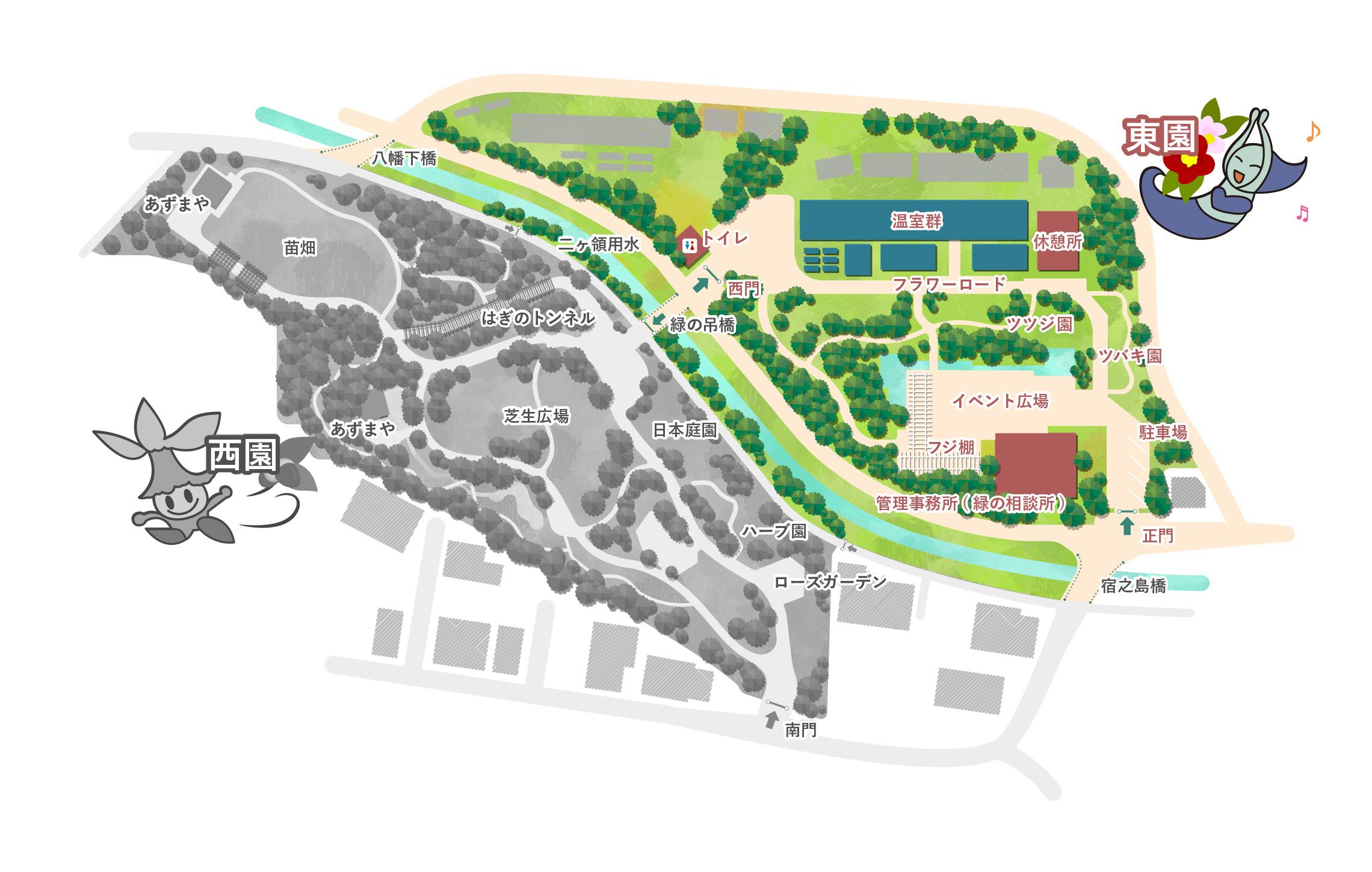 東園には管理事務所、フジ棚、イベント広場、ツバキ園、ツツジ園、フラワーロード、休憩所、温室群、があります。